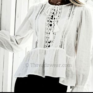 LACE DETAILED WHITE BLOUSE